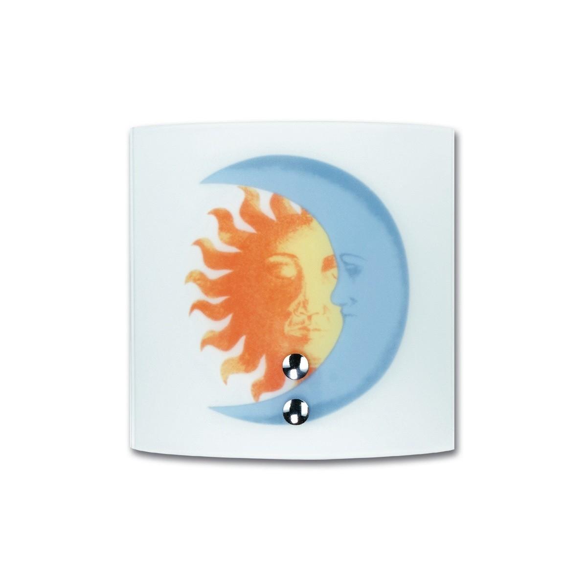 I-236/00700 - Applique Quadrata Vetro Bianco Disegno Sole Luna Lampada Cameretta E27