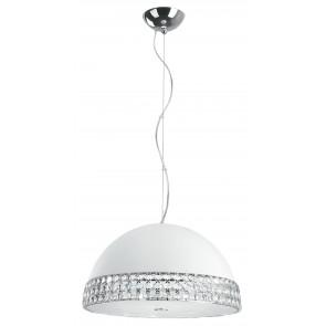 I-ARMONIA/S41 BCO - Sospensione Alluminio Bianco Fascia Cristalli K9 diffusore Vetro Lampadario Moderno 42 watt G9