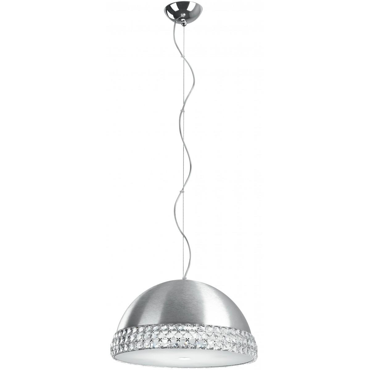 I-ARMONIA/S41 SILVER - Lampadario Alluminio Argentato Fascia Cristalli K9 diffusore Vetro 42 watt G9