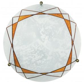 I-ROSITA/PL30 - Plafoniera Tonda decoro Geometrico Ambra Vetro Satinato Lampada Classica E27