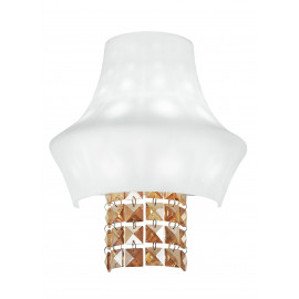 I-SOUL/AP - Applique Vetro Bianco Pendenti Cristalli K9 Ambra Lampada da Parete Classica 53 watt G9