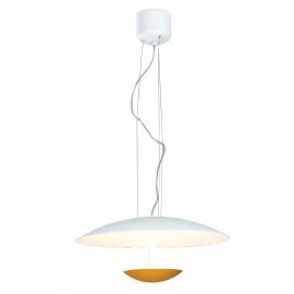 LED-HAMLET-S55 - Sospensione Circolare Bianco Oro Alluminio Lampadario Moderno Led 40 watt Luce Calda