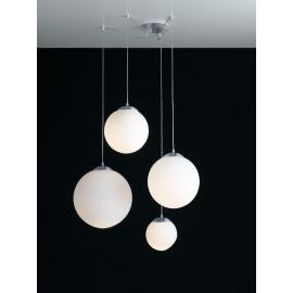 I-LAMPD/S4 BCO - Lampadario a Quattro Sospensioni Sferiche Vetro Bianco Moderno E27
