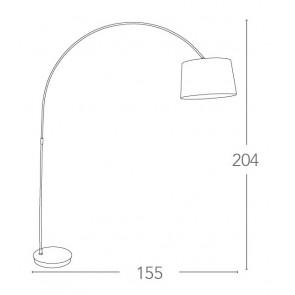 Lampadaire Arc blanc 60 watts E27