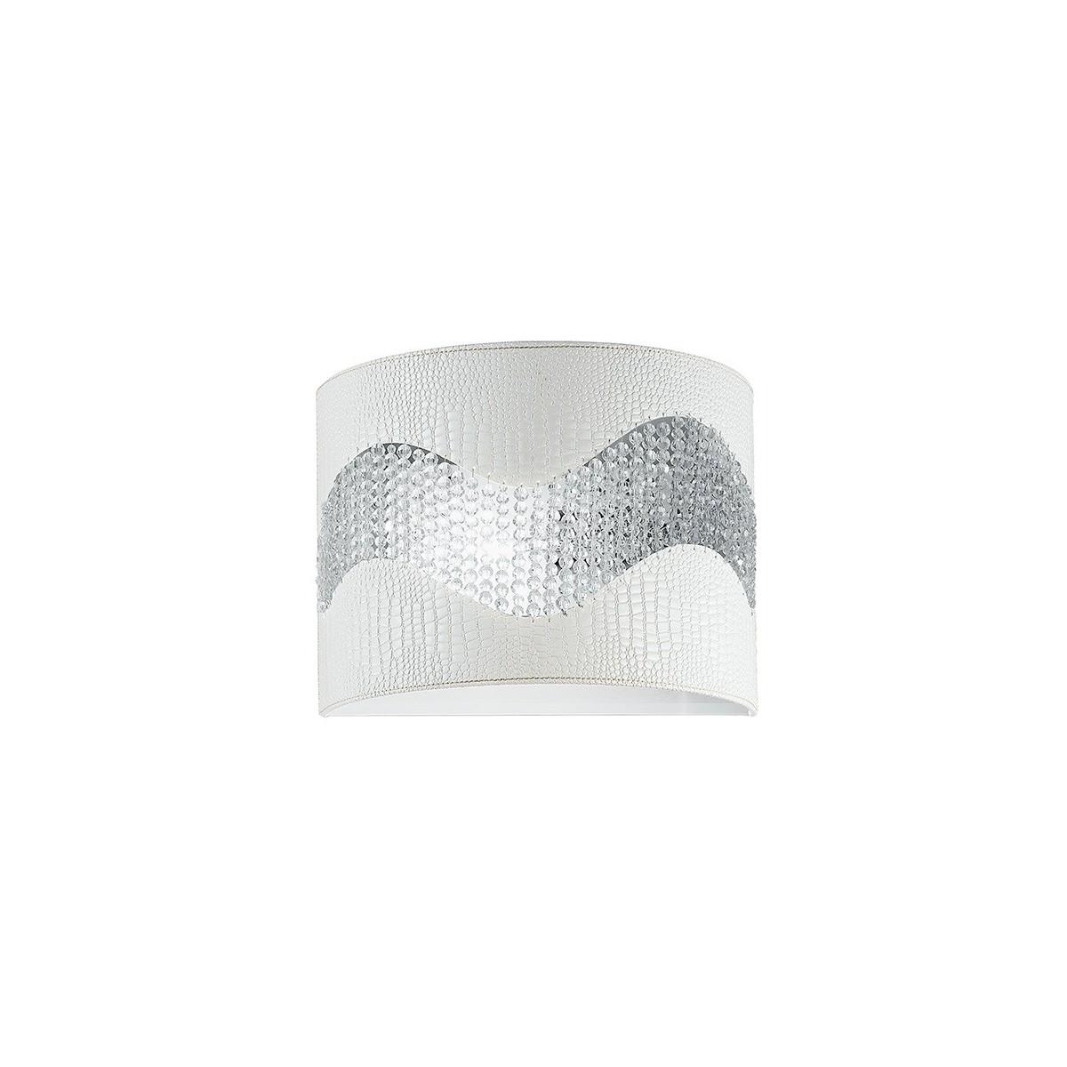 I-ECLIPSE/AP2 - Applique Ecopelle Bianca Fascia Cristalli K9 Lampada da Parete Moderna E14