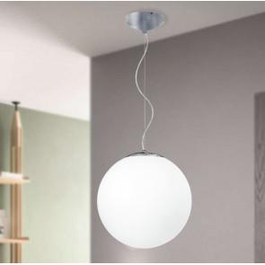 I-LAMPD/S35 BCO - Sospensione paralume Globo Vetro Bianco Lampadario Moderno E27