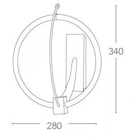Applique a Cerchio con Struttura in Metallo Cromo e Diffusore in Vetro FanEurope