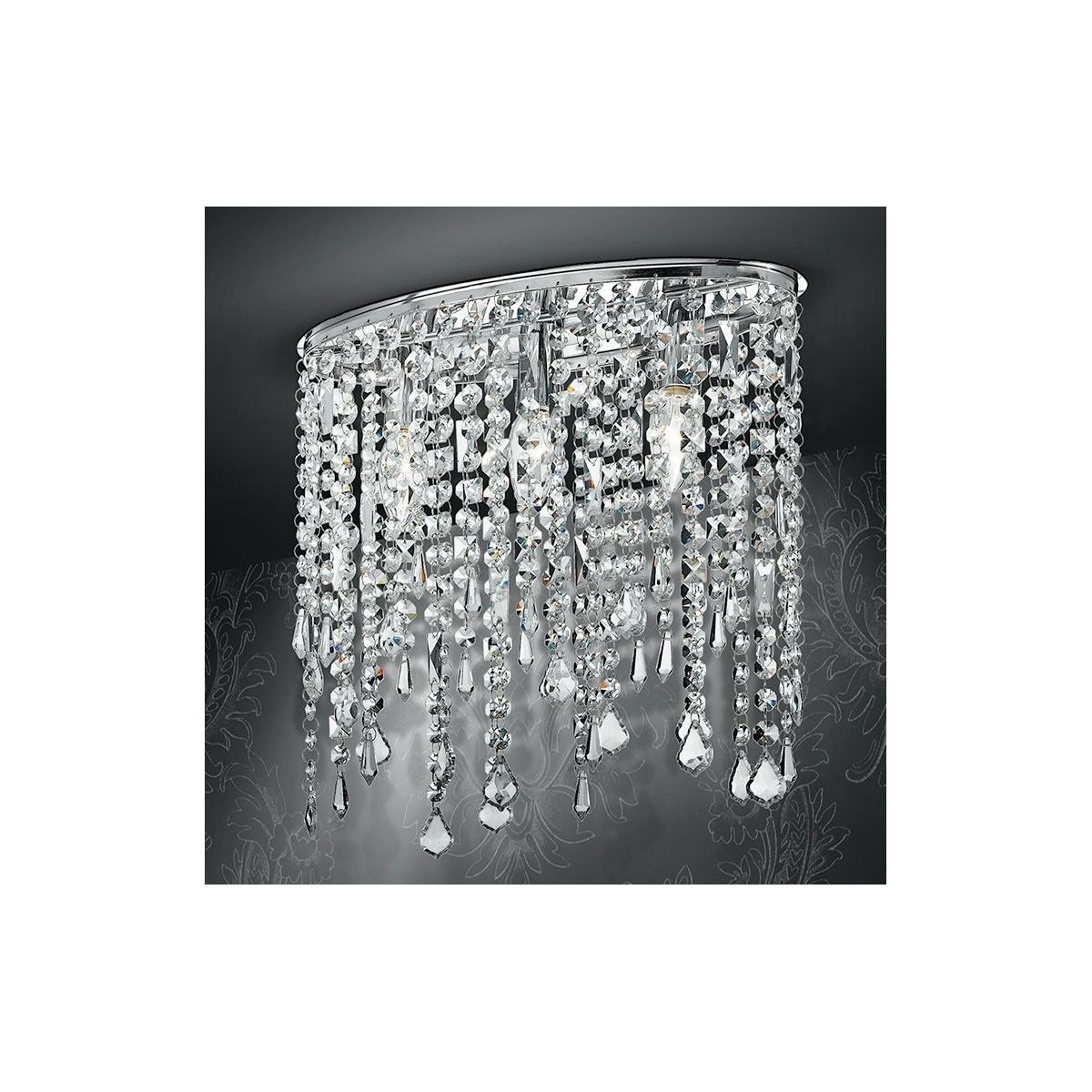 I-BREEZE/PL3 - Plafoniera Ovale Metallo Pendenti Cristalli K9 Lampada Interno Soffitto Classica E14
