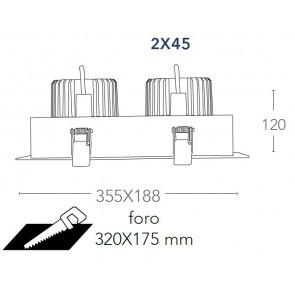 INC-APOLLO-2X45M - Spot encastré...