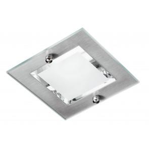 INCASSO-ADAM-Q1 - Faretto Quadrato Metallo Vetro Trasparente Satinato Incasso Cartongesso E27