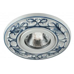 INC-BLUMA-BLU - Faretto Tondo Porcellana Decoro a Mano Blu Incasso Controsoffitto MR16