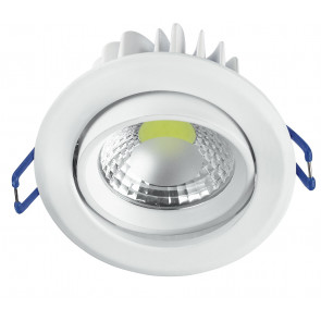 INC-KRONE-5F BCO - Incasso Controsoffittatura Faretto Tondo Orientabile Alluminio Bianco Led 5 watt Luce Fredda