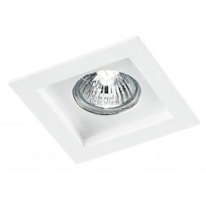 Incasso Controsoffittatura Faretto Quadrato Gesso Bianco Verniciabile GU10