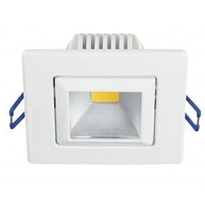 INC-POUND-5C BCO - Faretto Quadrato Orientabile Alluminio Bianco Incasso Cartongesso Led 5 watt Luce Calda