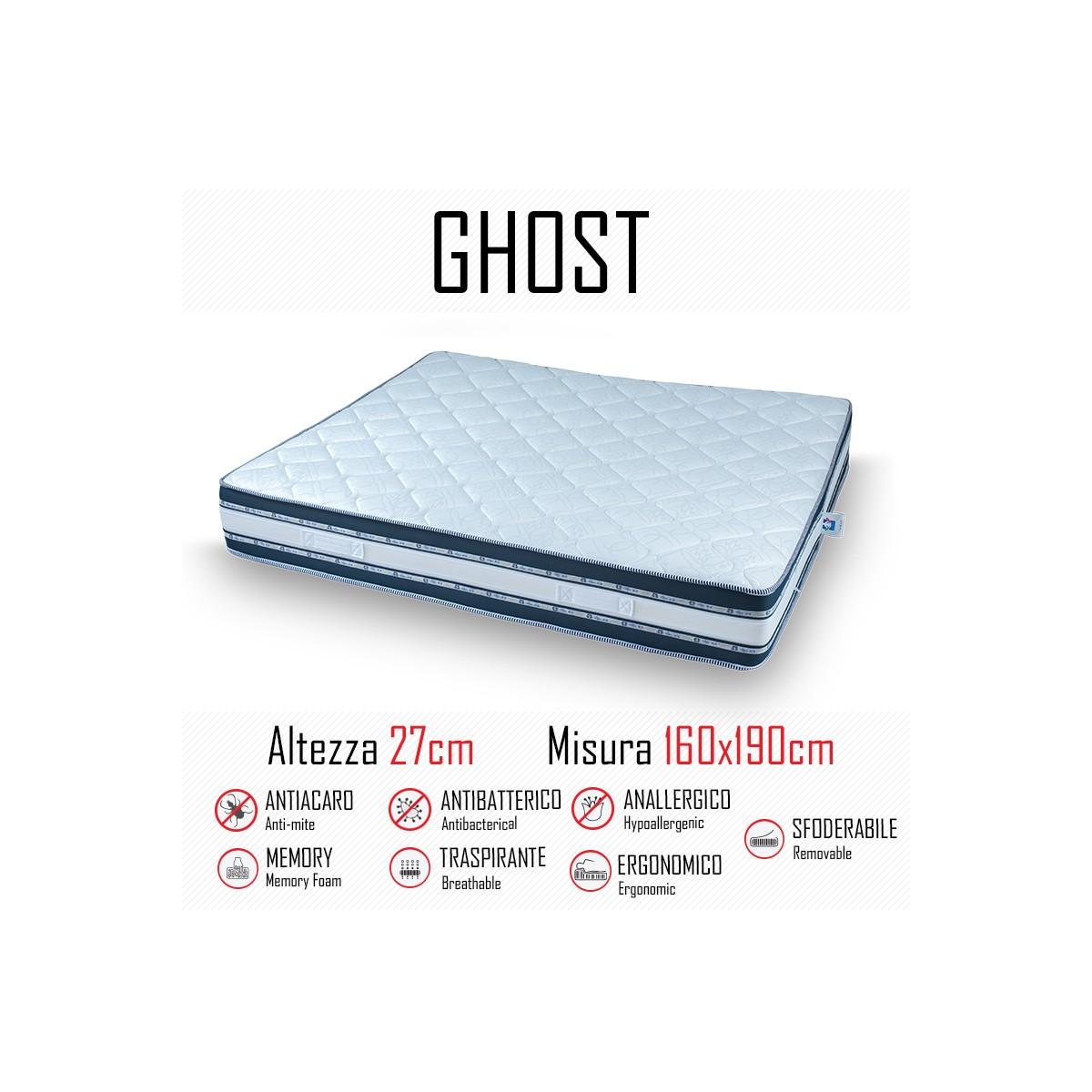Pulire Materasso Memory Foam materasso ghost sfod 160x190 in gomma e memory alto 27cm