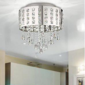 Plafonnier circulaire pendentifs en métal cristaux K9 lampe à LED moderne 24 watts lumière naturelle