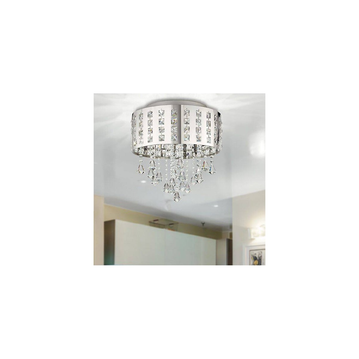 LED-INNUENDO/PL40 - Plafoniera Circolare Metallo Pendenti Cristalli K9 Lampada Moderna Led 24 watt Luce Naturale