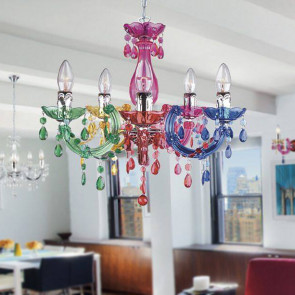 I-HOUSTON-S5 COL - Lampadario Acrilico Multicolor Pendagli Gocce Moderno E14