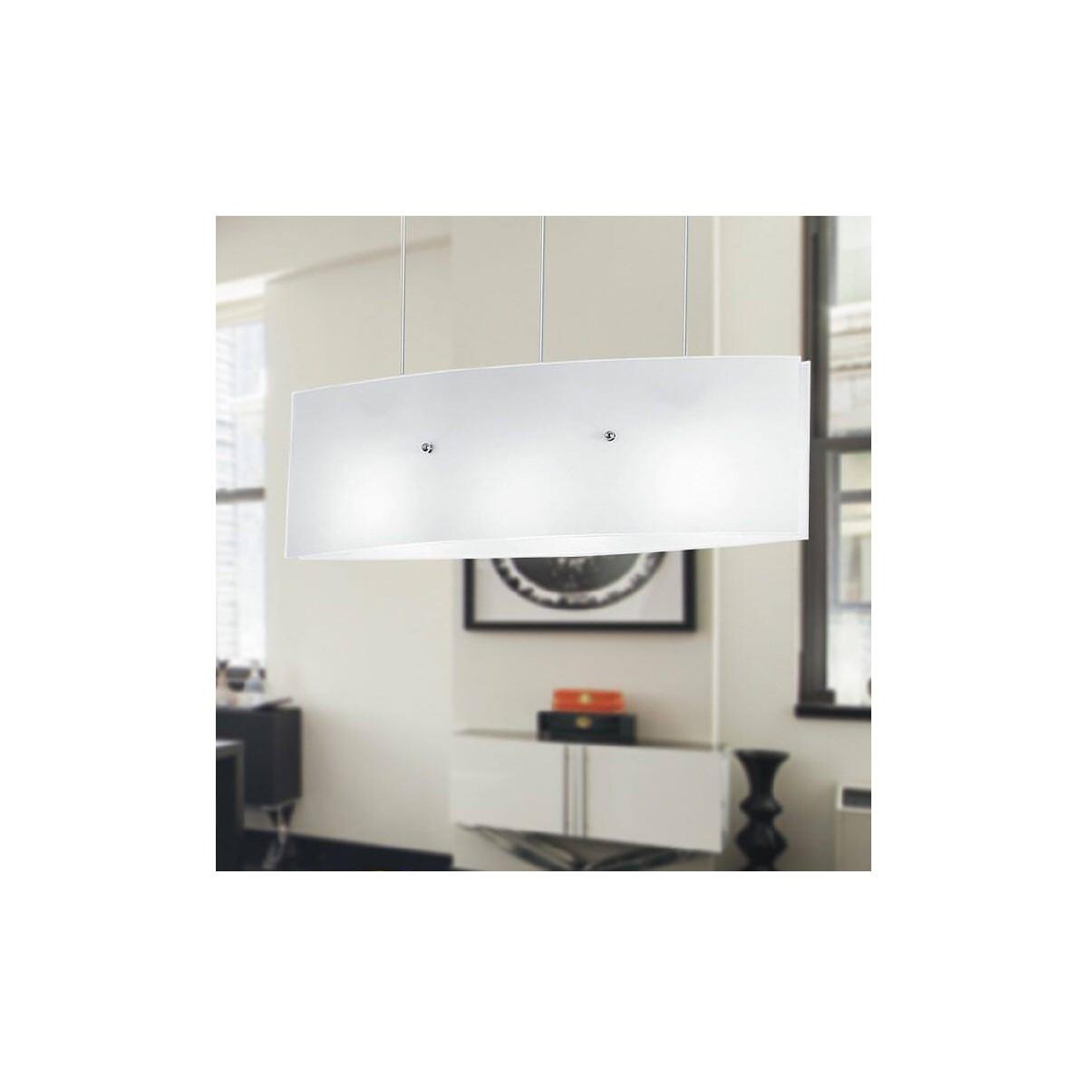 I-AMSTERDAM/S130 - Lampadario a Sospensione Vetro Bianco Interno Moderno E27