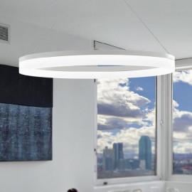 LED-SATURN-S60 - Lampadario sospeso Due Anelli Bianchi Alluminio Acrilico Led 30 watt Luce Naturale