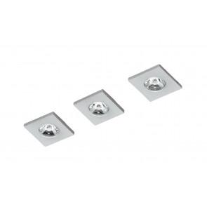 INC-SIRIO-Q3 - Kit 3 Faretti a Incasso Quadrati Alluminio Nikel Spazzolato Led 3 watt Luce Naturale