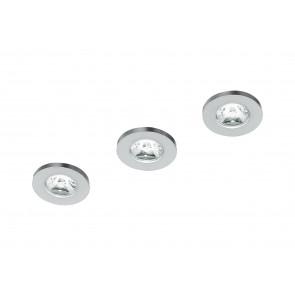 INC-SIRIO-R3 - Kit 3 Faretti Incasso Tondi Alluminio Nikel Spazzolato Cartongesso Led 3 watt Luce Naturale