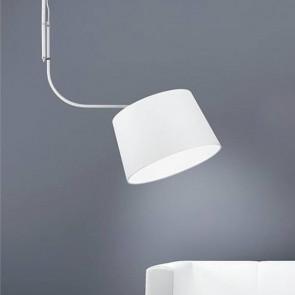 Suspension en métal blanc abat-jour en tissu blanc lustre moderne E27