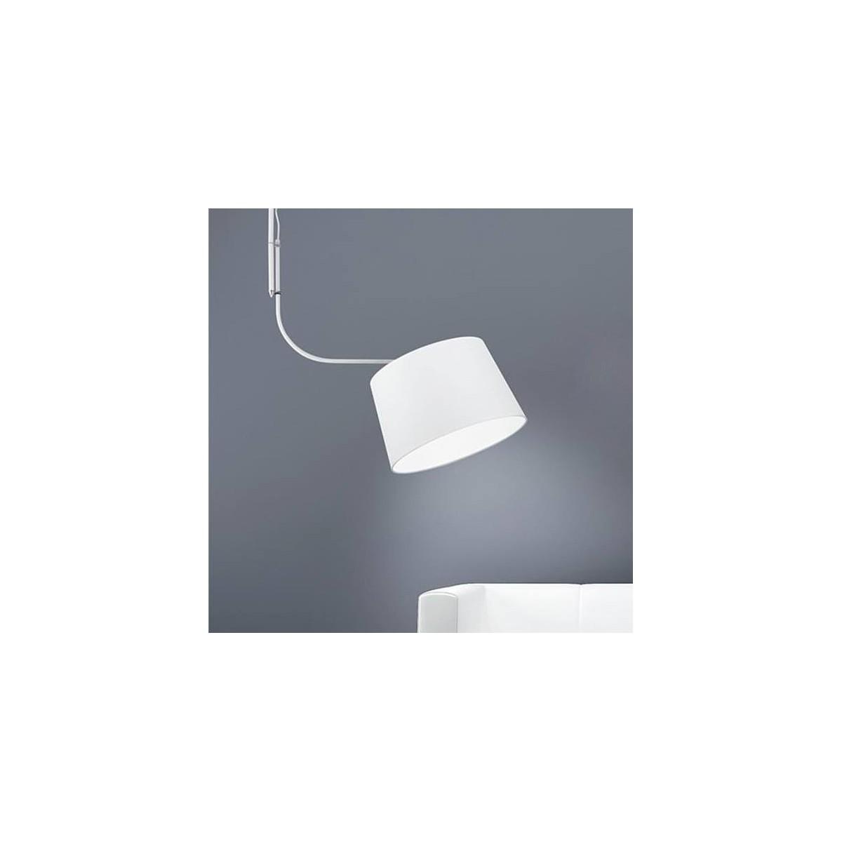 I-BRIDGE/S - Sospensione Metallo Bianco Paralume Tessuto Bianco Lampadario Moderno E27