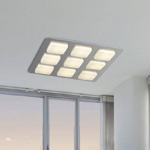 LED-MADISON-Q9 - Plafoniera Moderna Quadrata Metallo Acrilico 9 Luci Soffitto Led 54 watt Luce Calda
