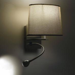 I-090111-5F - Applique murale ovale marron et lumière led 3 watts 4500 kelvin E14