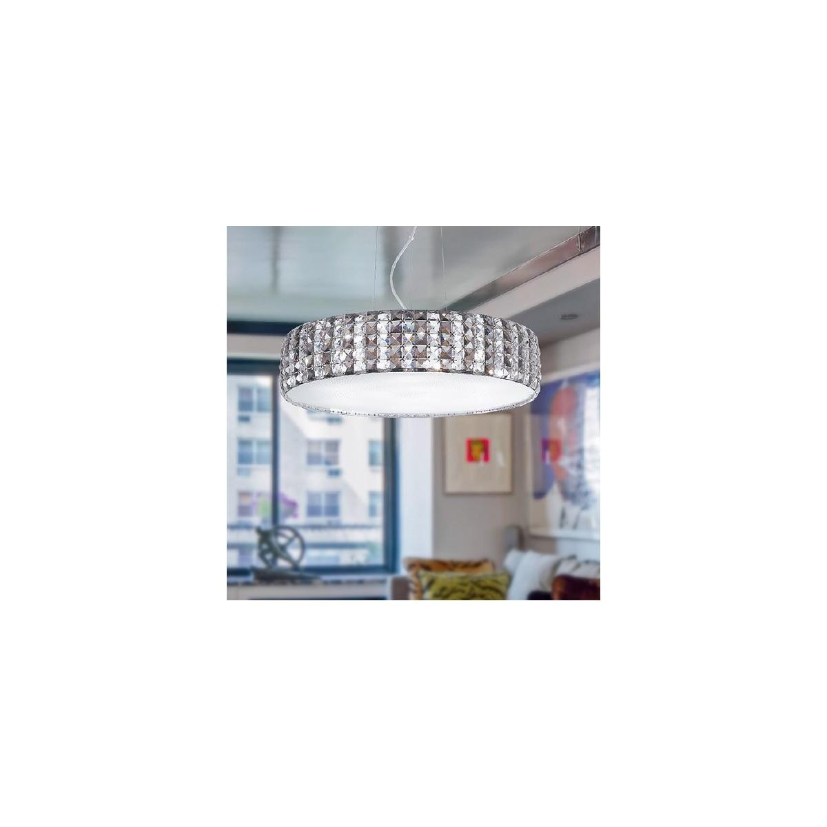 I-TANGO/S55 - Lampadario Sospensione Circolare Cristalli K9 diffusore Vetro Moderno G9