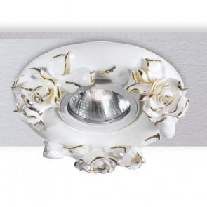 Faretto Incasso Porcellana Decoro a Mano Rose Oro Cartongesso MR16