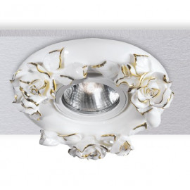 INC-ZARAH-ORO - Faretto Incasso Porcellana Decoro a Mano Rose Oro Cartongesso MR16