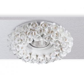 INC-FLORENZA-BCO - Encastré Faux Plafond Porcelaine Blanche Spotlight Décoration Rose Craft MR16