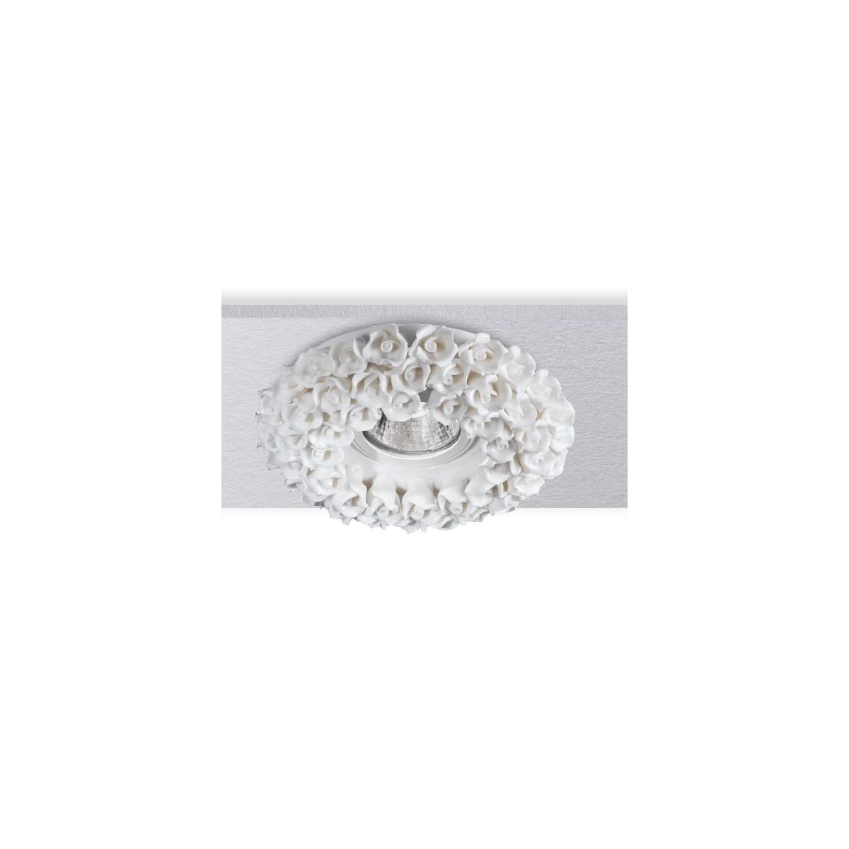 INC-FLORENZA-BCO - Incasso Controsoffittatura Faretto Porcellana Bianca Decoro Rose Artigianale MR16
