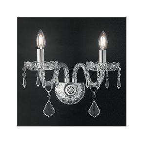 I-RIFLESSO/AP2 - Applique Elegante Cristallo Gocce Trasparenti Finiture Cromo Lampada Classica E14