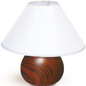 I-174/01500 - Lume base Tonda Ceramica Texture Legno paralume Tessuto Bianco Lampada Classica E14