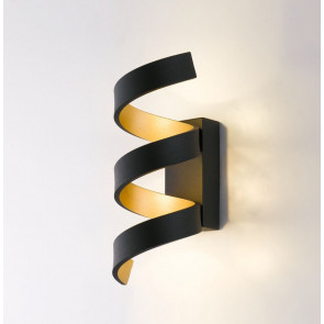 LED-HELIX-AP3 NER - Applique Nera Oro simil Nastro Alluminio Led 9 watt Luce Naturale