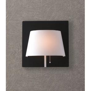 LED-WHAROL-BW - Applique Metallo Nero Paralume Bianco Lampad Moderna Led 6 watt Luce Naturale