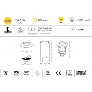 LED-IMPACT-R-1W - Faretto tondo per...