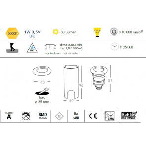 LED-IMPACT-R-1W - Spot ronde pour...