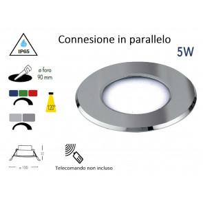 INC-RAINBOW-M BCO Led RGB da incasso RAINBOW in alluminio bianco 5W dm 10 cm connessione in parallelo