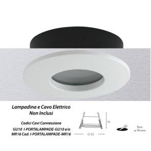 INC-VIPER-R-BCO Struttura da incasso VIPER per lampada GU10 tonda fissa bianca IP65 dm 82 mm