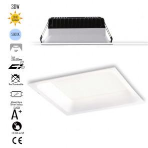 INC-XANTO-F-Q220 Lampada da incasso XANTO quadrata in alluminio bianca pressofuso con Led  SMD integrato 5000K- 2900Lm - 30W