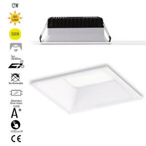 INC-XANTO-C-Q110 Lampada da incasso XANTO quadrata in alluminio bianca pressofuso con Led  SMD integrato 3000K- 960Lm - 12W