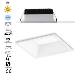 INC-XANTO-F-Q110 Lampada da incasso XANTO quadrata in alluminio bianca pressofuso con Led  SMD integrato 5000K- 1000Lm - 12W