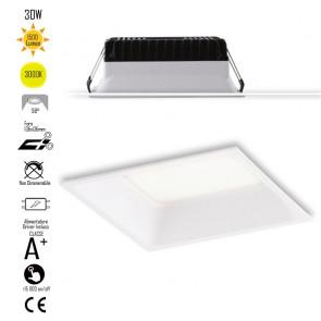 INC-XANTO-C-Q145 Lampada da incasso XANTO quadrata in alluminio bianca pressofuso con Led  SMD integrato 3000K- 1500Lm - 18W