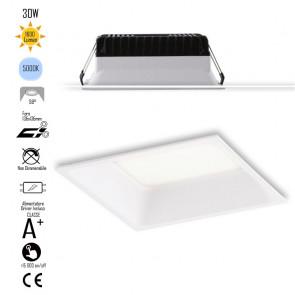 INC-XANTO-F-Q145 Lampada da incasso XANTO quadrata in alluminio bianca pressofuso con Led  SMD integrato 5000K- 1600Lm - 18W