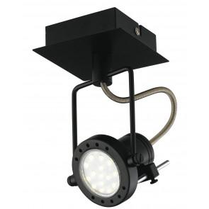 SPOT-TECHNO-1 NER Faretti  lampade Spot in metallo TECHNO con finitura nero satinato 1xGU10 6W LED orientabili