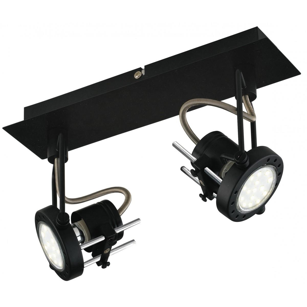 SPOT-TECHNO-2 NER Faretti  lampade Spot in metallo TECHNO con finitura nero satinato 2xGU10 6W LED orientabili